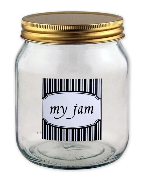 example white with black label on a jar