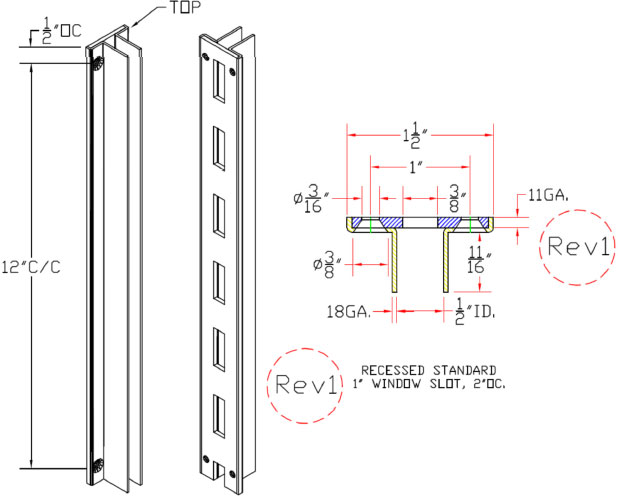 Recessed System X wall standard