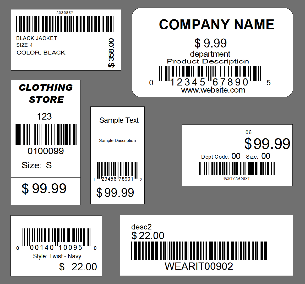barcode label tag template design service retail. Black Bedroom Furniture Sets. Home Design Ideas