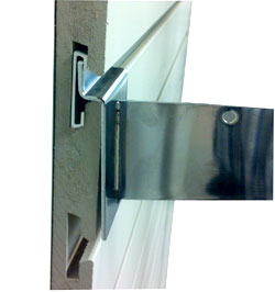 used os a powerbar with a slatwall shelf bracket