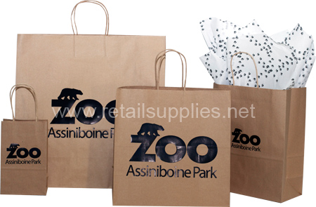 custom printed kraft paper shopping bags