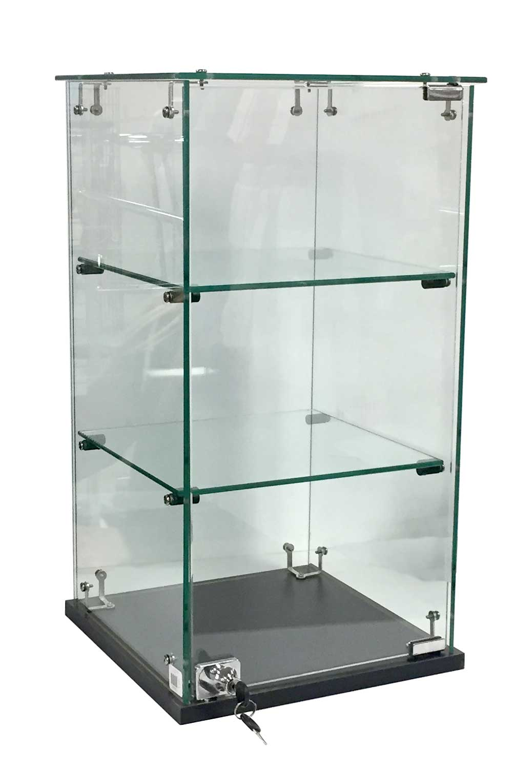 """Frameless 13"""" x 13""""d x 24""""h Countertop Showcase with Black Base and Lock"""