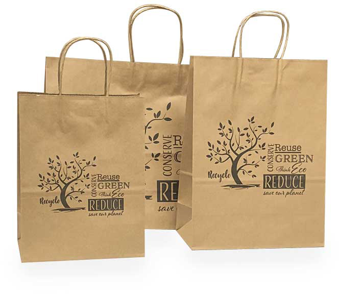 Planet Green Printed Kraft with Black Ink Kraft Paper Shopping Bags