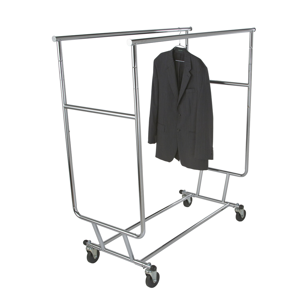 240033 - Collapsible Folding Adjustable Double Bar Rolling Rack -ea.-Same Day Shipping!
