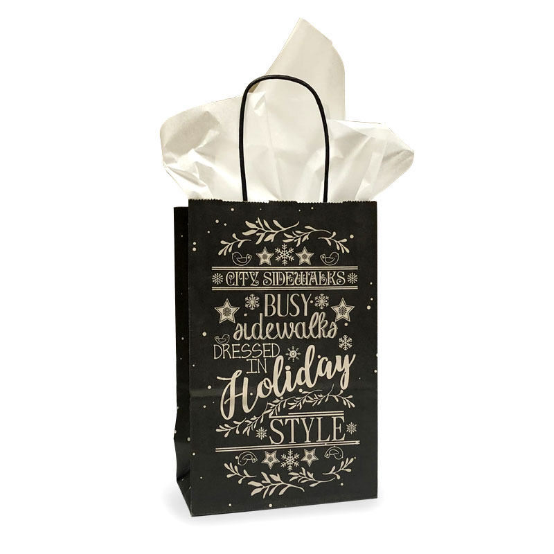 "667255 - 5""x3""x8"" Holiday Chalkboard Paper Shopping Bags per 100"