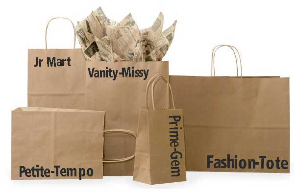 Kraft Paper Shopping Bags 	 100% recycled kraft paper shopping bags per 100