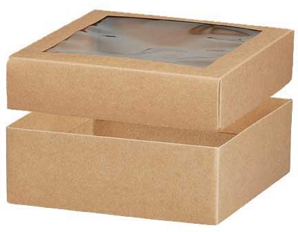 602850 Kraft Window Gift Box With Window Lid 8 X 8 X 2