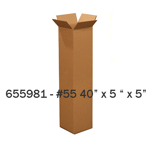 "#525 - 25""h x 5-1/4""d x 5-1/4""w Corrugated Kraft Shipping Box - ea. - SKU: 655986"