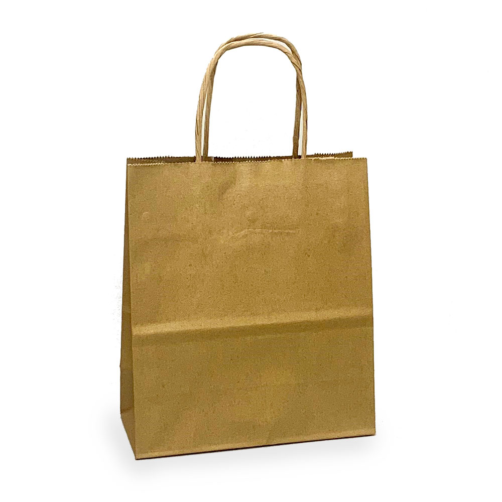 """100% Recycled Timmy 7""""x3-1/2""""x8"""" Chocolate Paper Shopping Bags per 100 - SKU: 669210"""