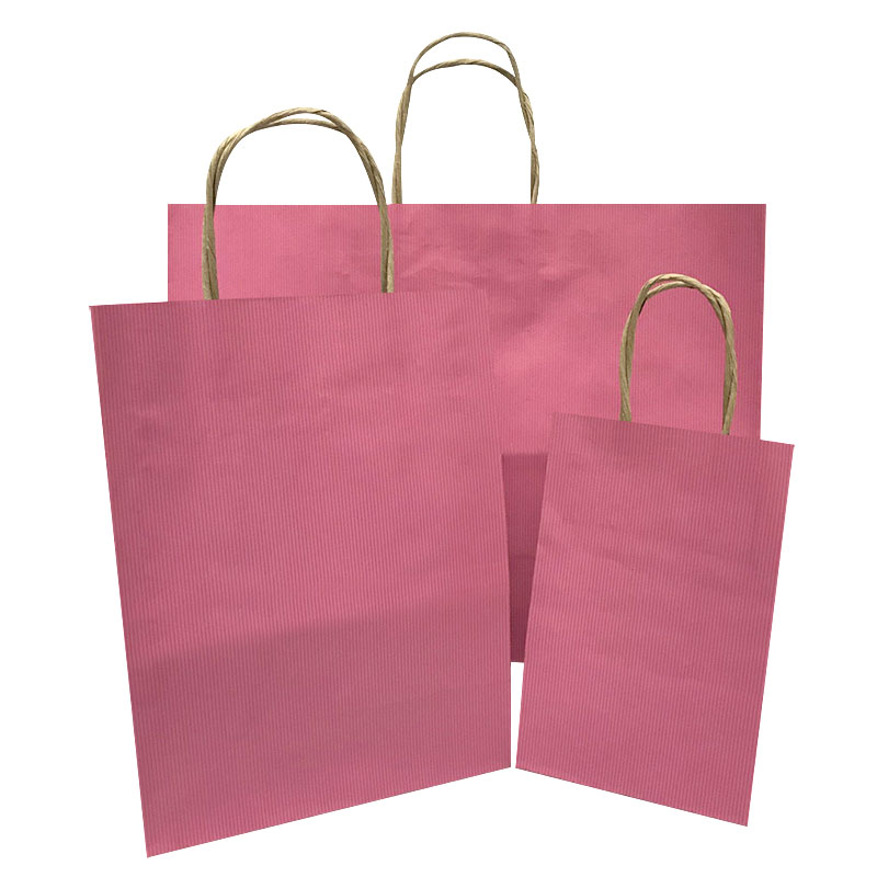 Petite-Tempo Cerise Pinstripe Paper Shopping Bags per 100 - SKU: 669118