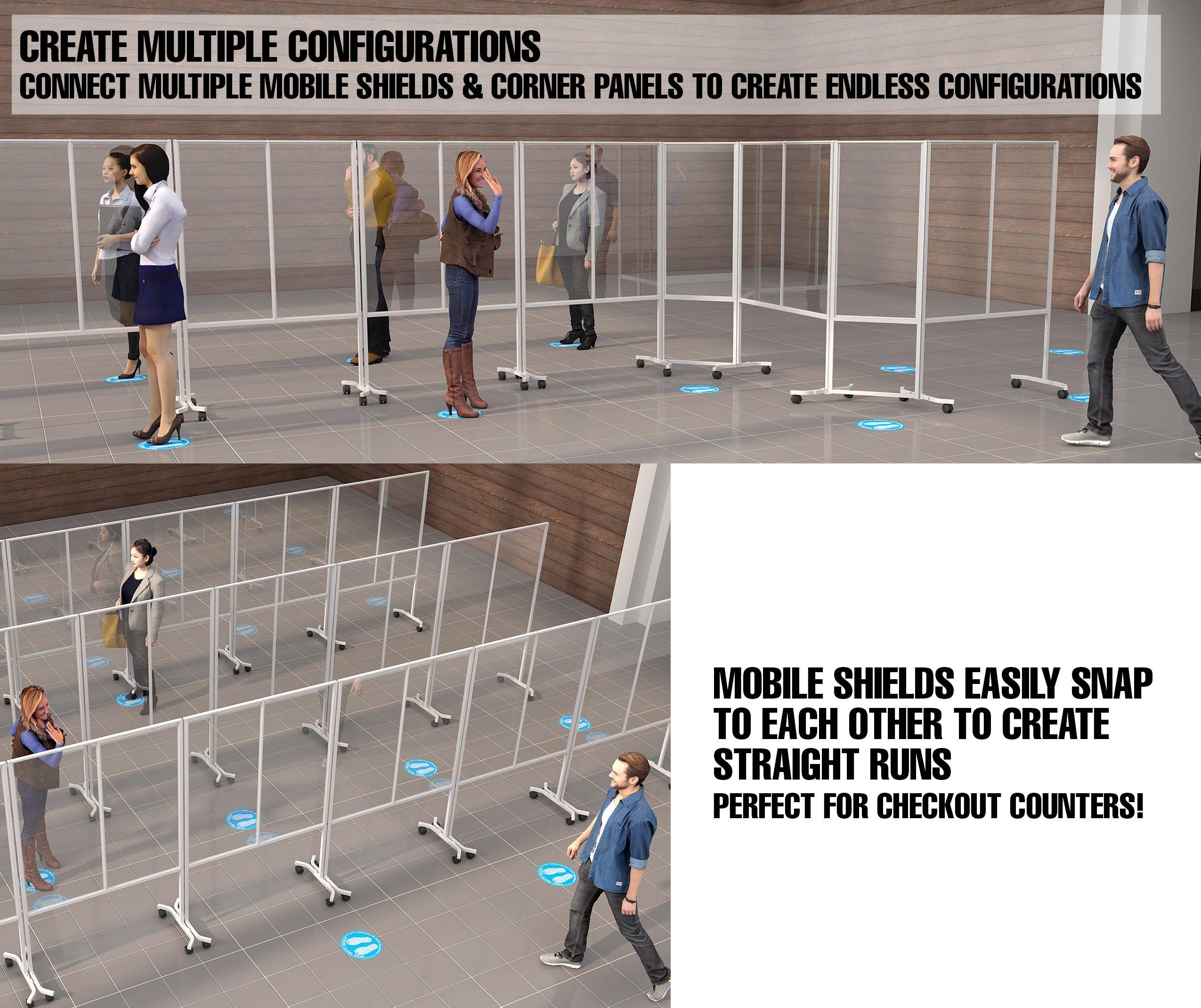 "Add On Corner for 991305 Social Distancing Mobile Shield - Semi-Gloss White 67-1/2""H x 23-3/4""L - ea. - SKU: 991306"