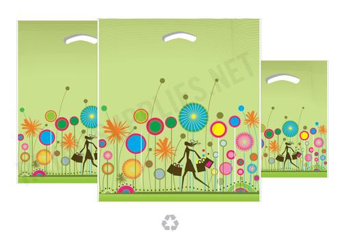 "16""x18""x4"" Celebration Plastic Pattern Boutique Bags- per 100 - SKU: 670571"