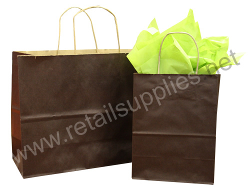 Prime-Gem Chocolate Brown Paper Shopping Bags - SKU: 669024