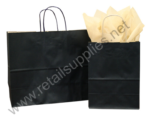 Prime-Gem Matte Black Paper Shopping Bags - SKU: 669001