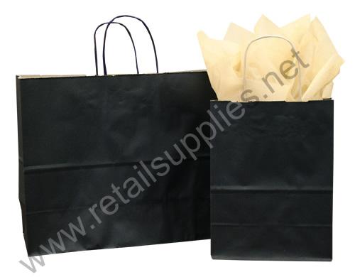 Fashion-Tote Matte Black Paper Shopping Bags - SKU: 669601