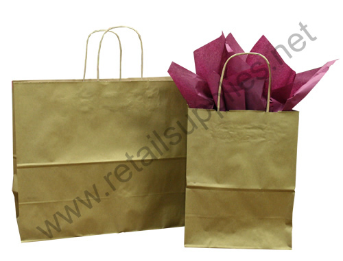 Prime-Gem Metallic Gold Paper Shopping Bags - SKU: 669072