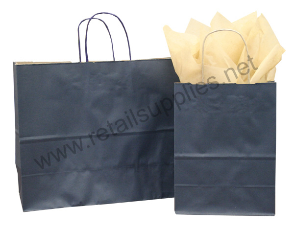 Prime-Gem Navy Blue Paper Shopping Bags - SKU: 669035