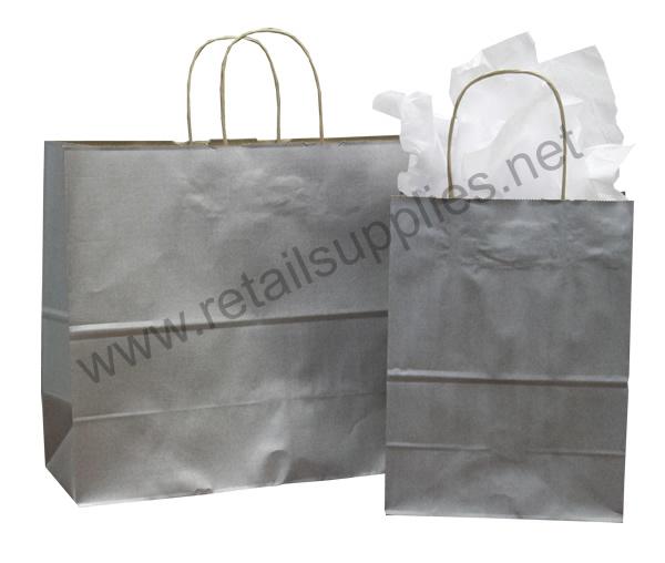 Fashion-Tote Metallic Silver Paper Shopping Bags - SKU: 669670