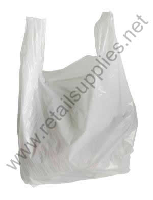 "Medium 11"" x 6"" x 21"" T-Shirt Bags White per 1000 - SKU: 640400"