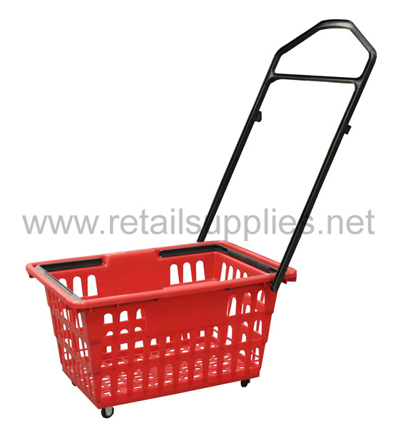 "Black Rolling Shopping Baskets 20-1/2"" x 13-3/4"" x 10""high - ea. - SKU: 264943"