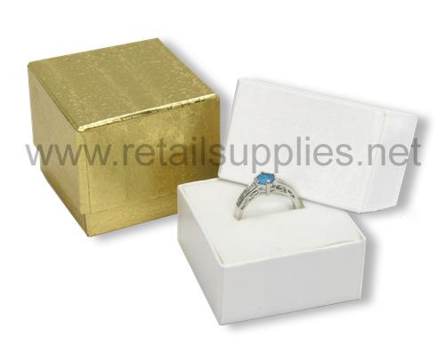 "Gold 1-3/4"" x 1-3/4"" x 1-1/2"" Ring Boxes - SKU: 610430"