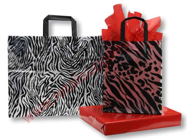 "Petite 8"" x 4"" x 10"" Zebra Frosted Shoppers - SKU: 665575"