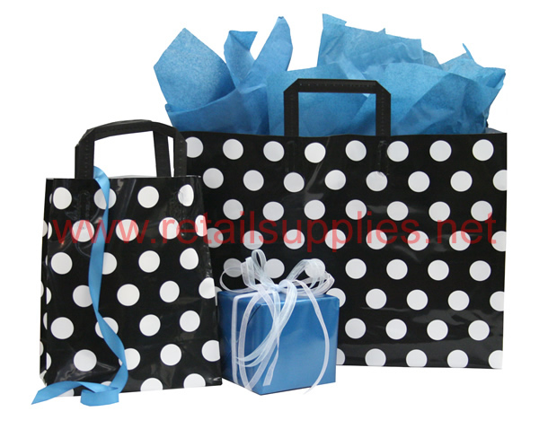 "Prime 5"" x 3"" x 7""  Black and White Dots Poly Shoppers - SKU: 665455"