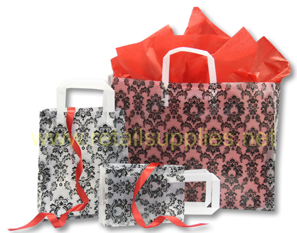 "Petite 8"" x 4"" x 10"" Black Damask Frosted Shoppers - SKU: 665476"