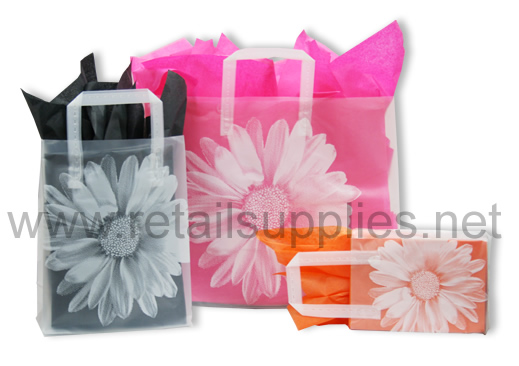 "Fashion 16"" x 6"" x 12"" Big Flower Frosted Shoppers - SKU: 665464"
