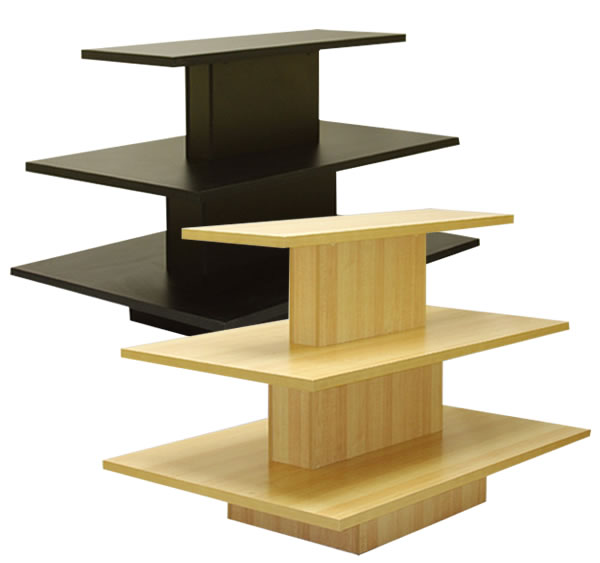 Black Melamine 3 Tier Rectangular Display Table - SKU: 230455