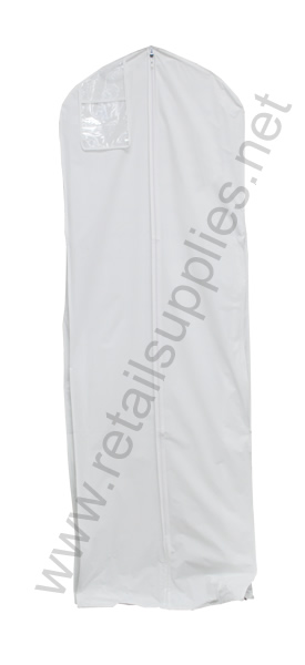 "24""x10""x72"" with gusset White Vinyl Bridal Bag unprinted - SKU: 222072"