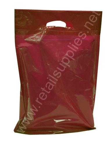 "Medium 16""x18""x4"" Burgundy Oxo-Biodegradable Boutique Bags per 500 - SKU: 671020"