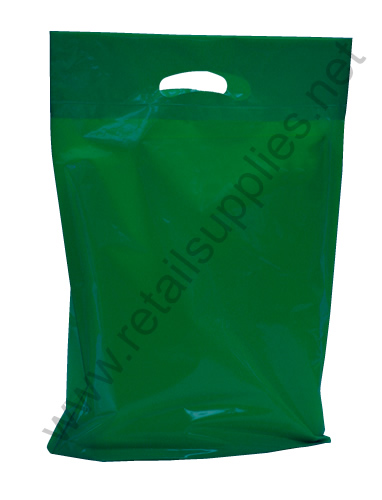 "Small 12""x16""x3"" Forest Green Oxo-Biodegradable Boutique Bags per 500 - SKU: 668754"