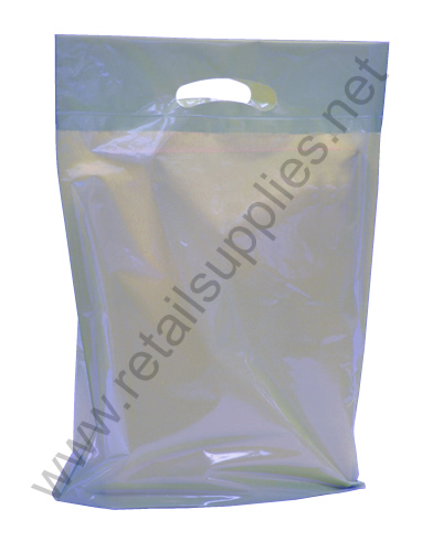 "Large 20""x23""x5"" Metallic Silver Oxo-Biodegradable Boutique Bags per 500 - SKU: 671170"