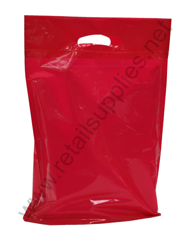 "Petite  9""x11.5""x2"" Red Oxo-Biodegradable Boutique Bags per 500 - SKU: 668612"