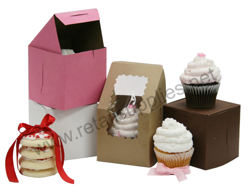 "White 100/pkg Cupcake Bakery Box Single Regular Size 4"" x 4"" x 4"" - SKU: 605100"