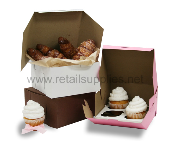 "7"" x 7"" x 4"" Pink Cupcake Bakery Box to fit 4 Regular Cup Size per 100  - SKU: 605120"