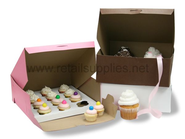 "10"" x 10"" x 4"" White Cupcake Bakery Box to fit 6 Regular Cup/12 Mini Cup Size per 100 - SKU: 605130"