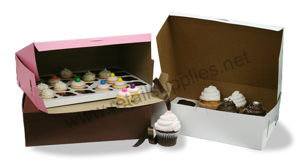 "14"" x 10"" x 4"" White Cupcake Bakery Box to fit 12 Regular Cup/24 Mini Cup Size per 100 - SKU: 605145"