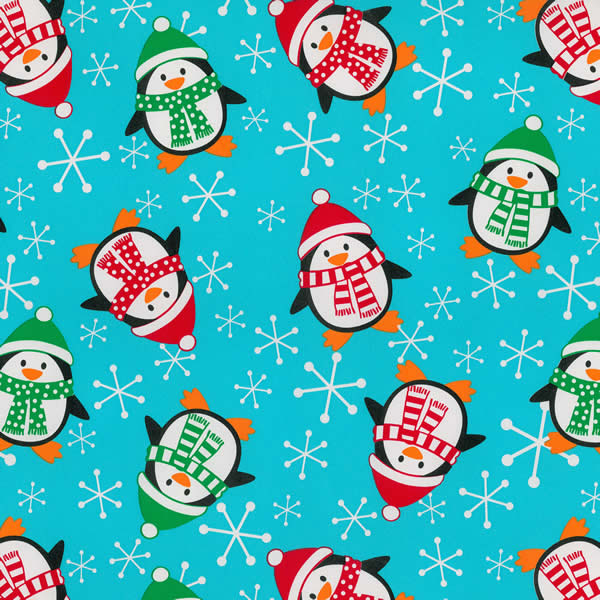 """24"""" x 833' 5436 Roly-Poly Penguins Gift Wrap - SKU: 4354368"""