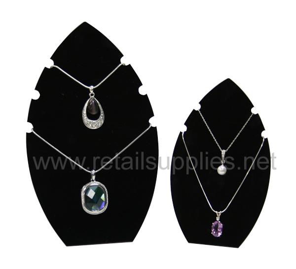 Black Acrylic Leaf Notched Necklace Displays - Large  - SKU: 294065