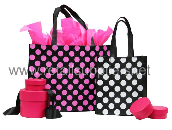 "Petite 8""w x 10""h x 4"" Black and Hot Pink Polka Dot Fabtex Bags-ea. - SKU: 735043"
