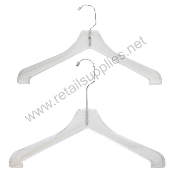 "300/17LH Long Hook Coat & Sweater Hanger 17"" Clear - Long Hook Heavyweight - SKU: 221255"