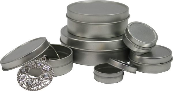 "4"" diam. x 1-1/4"" Round Tins with Solid Lid - SKU: 616085"