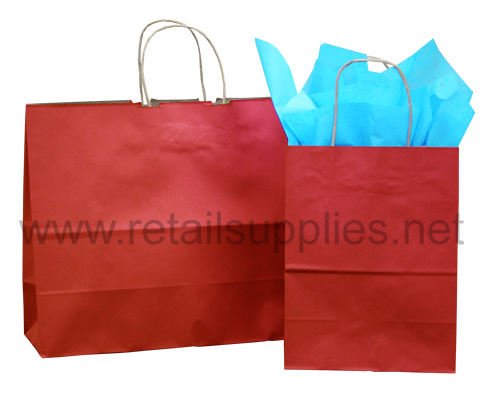 Fashion-Tote Scarlet Red Paper Shopping Bags - SKU: 669612