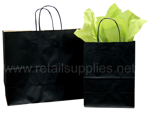 "Fashion-Tote 16""x6""x12"" Black Gloss Paper Shopping Bags per 100 - SKU: 669616"