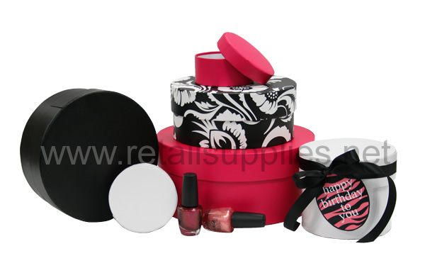 "Small Round Rigid Boxes 3-1/2"" diam. x 1-1/2""h - Fabulous Fuschia ea. - SKU: 615995a"