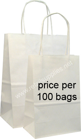 "Fashion-Tote 16""x6""x12"" Matte White Paper Shopping Bags Per 100 Bags - SKU: 669600"