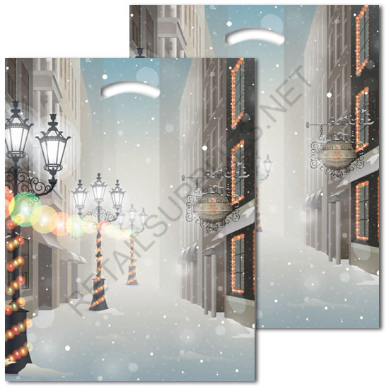 "16""x18""x4"" Winter Solstice Plastic Pattern Boutique Bags- per 100 - SKU: 670577"