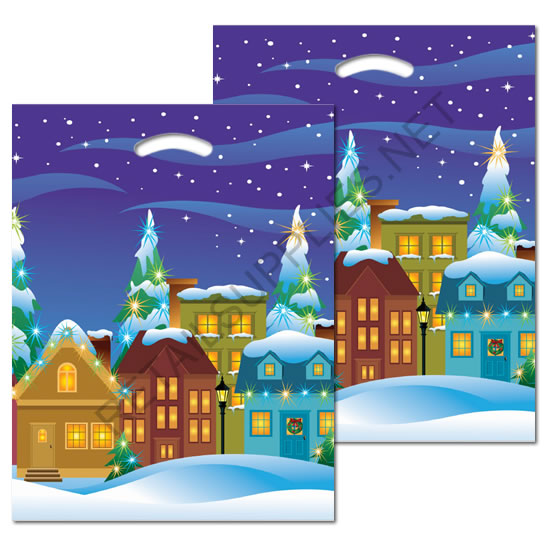 "12""x16""x 3"" Snowden Village Plastic Pattern Boutique Bags - SKU: 670545"